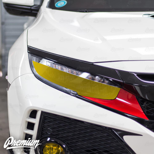 Headlight Overlay with Custom DRL Cut Out - Smoke Tint   2016-2019 Honda Civic Type R