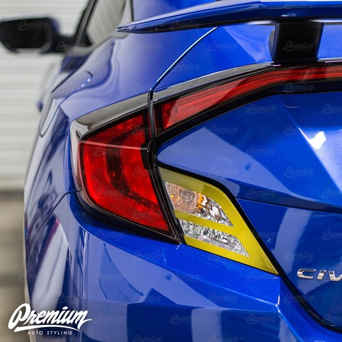 Tail Light with Custom Cut Out Accent Vinyl Overlay - Gloss Black | 2016-2018 Honda Civic Coupe