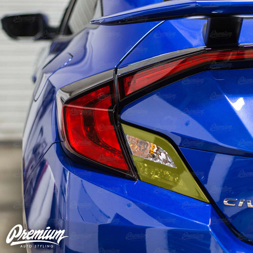 Custom Combo - Black Tail Light Accent with Smoked Reverse Light Overlay | 2016-2018 Honda Civic Coupe