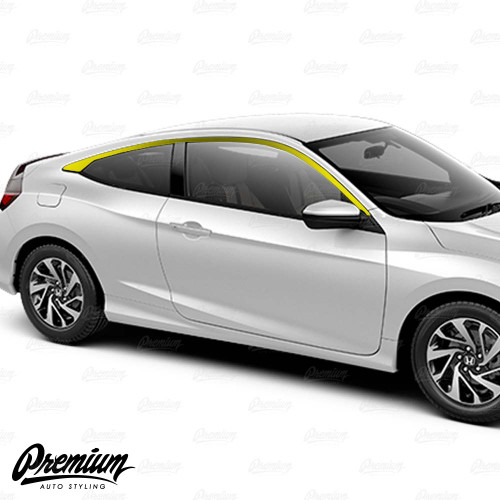 Window Trim Chrome Delete Vinyl Overlay Kit - Gloss Black | 2016-2018 Honda Civic Coupe