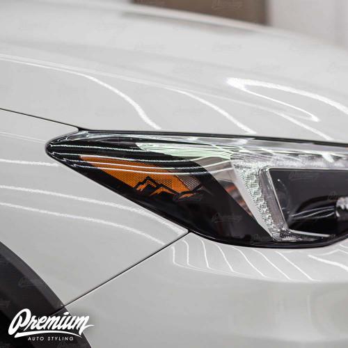 Headlight Amber Delete Vinyl Overlay with Mountain Range Cut Out - Gloss Black | 2018-2019 Subaru Crosstrek (LIMITED ONLY)