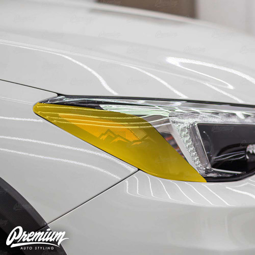 Headlight Amber Delete Vinyl Overlay with Mountain Range Cut Out - Gloss Black | 2018-2020 Subaru Crosstrek (LIMITED ONLY)