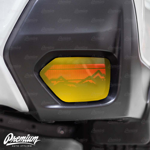 Rear Bumper Reflector with Mountain Range Cut Out Vinyl Overlay - Gloss Black | 2018-2021 Subaru Crosstrek