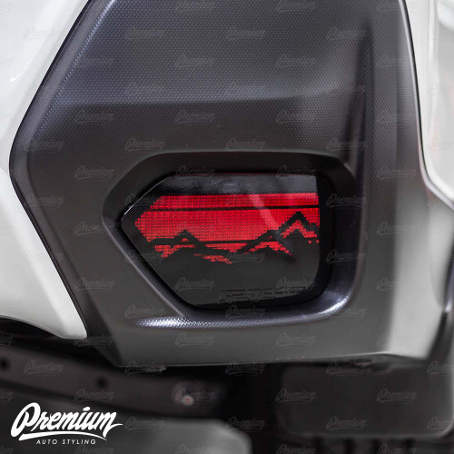 Rear Bumper Reflector with Mountain Range Cut Out Vinyl Overlay - Gloss Black | 2018-2021 Subaru Crosstrek