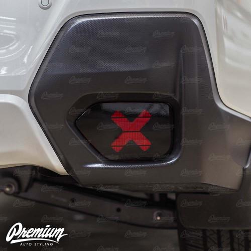 Rear Bumper Reflector with X - Cut Out Vinyl Overlay - Gloss Black   2018-2021 Subaru Crosstrek