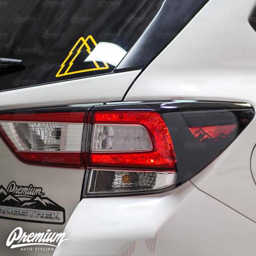 Tail Light Deck Vinyl Overlay with Mountain Range Cut Out - Gloss Black | 2018-2020 Subaru Crosstrek