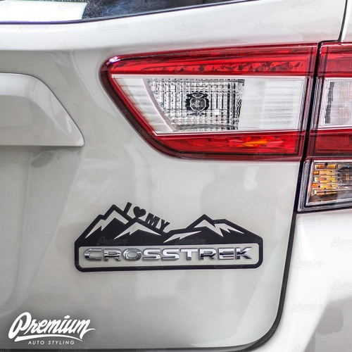 """I Heart My"" Crosstrek Mountain Range Decal - Gloss Black 