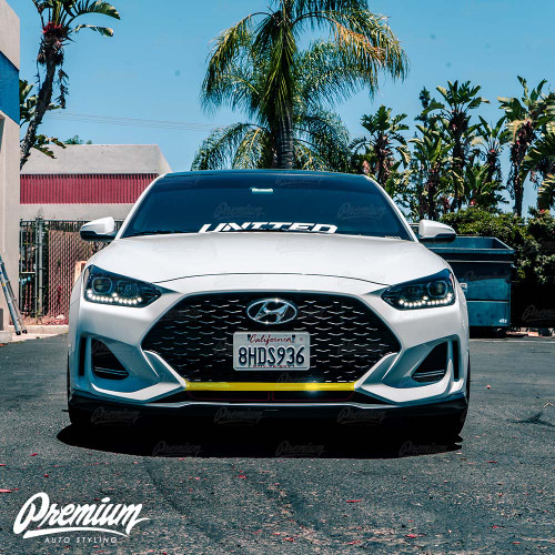 Front Bumper Center Black Out Vinyl Overlay - Gloss Black | 2019-2020  Hyundai Veloster