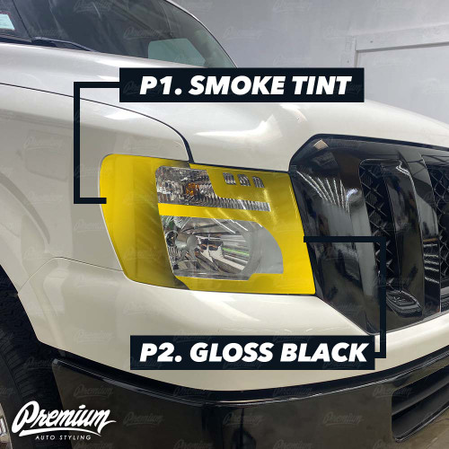 Headlight Amber Delete and Custom Cut Out Vinyl Overlay - Dark Smoke Tint + Gloss Black | 2012-2020 Nissan NV1500-3500