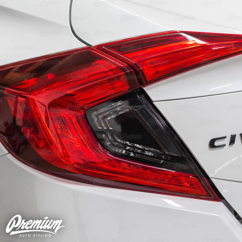 Tail Light Insert Black Out with Custom Turn Signal and Reverse Light Cut Out | 2016-2020 Honda Civic Sedan