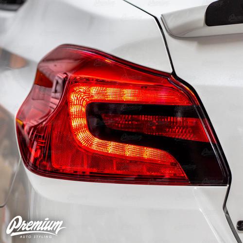 Tail Light Insert w/ Custom Cut-Out Overlay - Gloss Black + Red Tint Insert | 2015-2020 Subaru WRX/STI
