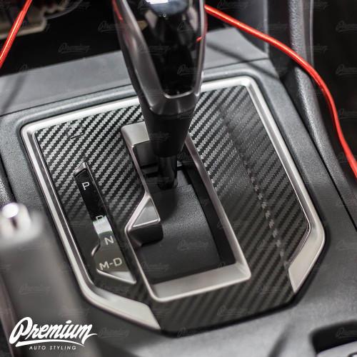 (Premium Model Only) - Carbon Fiber Shifter Trim Vinyl Overlay | 2018-2021 Subaru Crosstrek