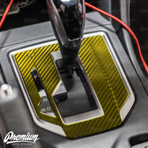 (Premium Model Only) - Carbon Fiber Shifter Trim Vinyl Overlay | 2018-2021 Subaru Crosstrek