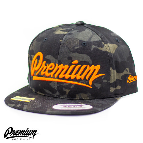 LIMITED RELEASE | Premium Snapback Hat (MULTICAM BLACK / ORANGE LOGO )