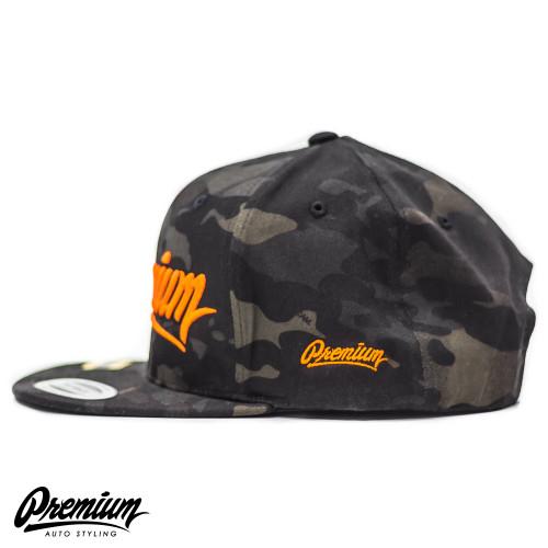 LIMITED RELEASE | Premium Snapback Hat (MULTICAM BLACK / ORANGE LOGO )