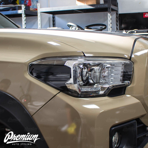 Headlight Amber Delete Vinyl Overlay - Gloss Black   2016-2020 Toyota Tacoma