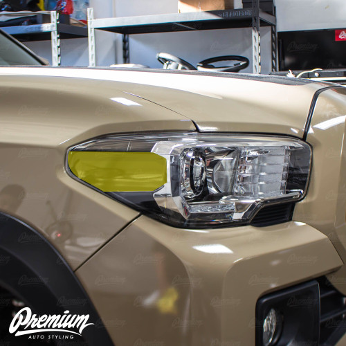 TRD Headlight Amber Delete Vinyl Overlay - Smoked Tint   2016-2020 Toyota Tacoma