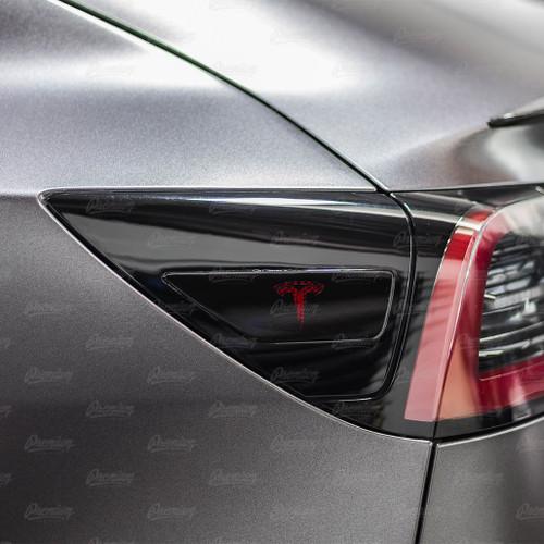 "Rear Side Reflectors with ""T"" logo Cut-Out - Gloss Black | 2017+ Tesla Model 3"