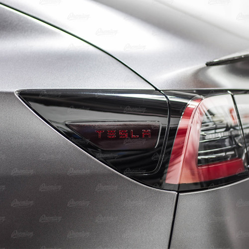 "Rear Side Reflectors with ""TESLA"" text Cut-Out - Smoke Tint 