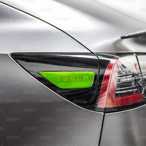 "Rear Side Reflectors with ""TESLA"" text Cut-Out - Smoke Tint | 2017+ Tesla Model 3"