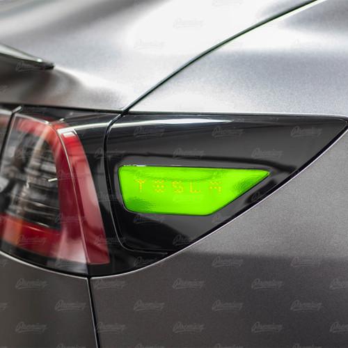"Rear Side Reflectors with ""TESLA"" text Cut-Out - Gloss Black | 2017+ Tesla Model 3"