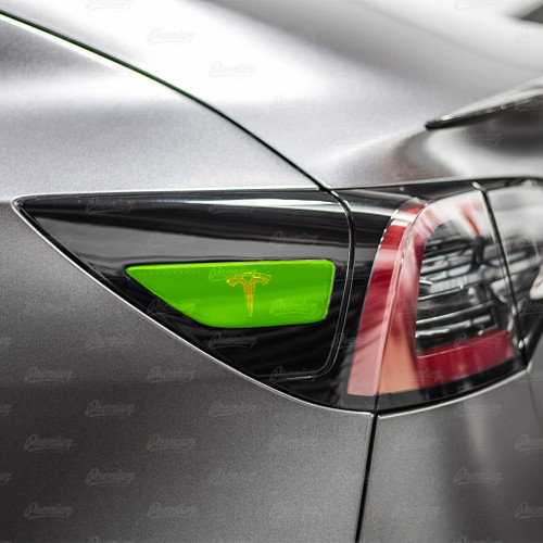 "Rear Side Reflectors with ""T"" logo Cut-Out - Smoke Tint | 2017+ Tesla Model 3"