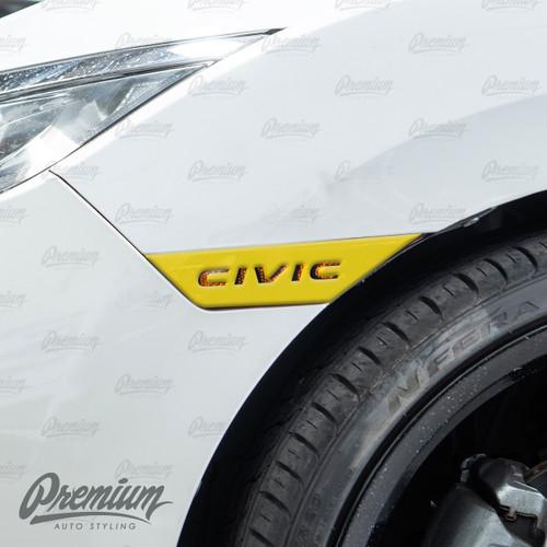 Civic Logo Front Side Reflector Light Overlays- Gloss Black (2016-2021 Civic)