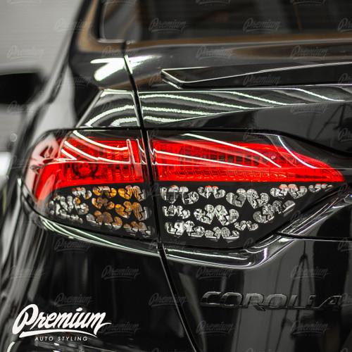 Broken Heart Tail Light Overlays - Gloss Black | 2020-2021 Toyota Corolla Sedan