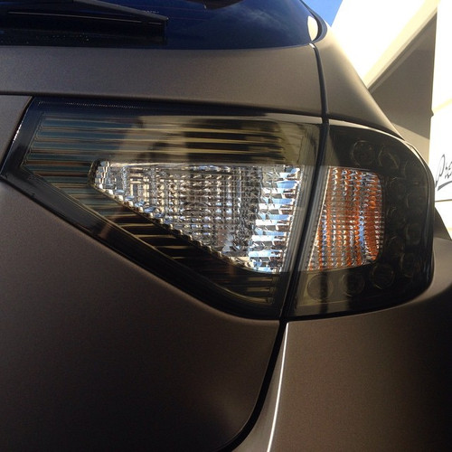 2008-2014 Subaru WRX & STI Hatchback Smoked Tail Light Tint Overlays w/ Reverse & Blinker Cut Outs
