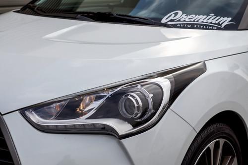 Headlight Amber Delete Smoke Tint/Gloss Black Vinyl Overlay | 2011-2017 Hyundai Veloster
