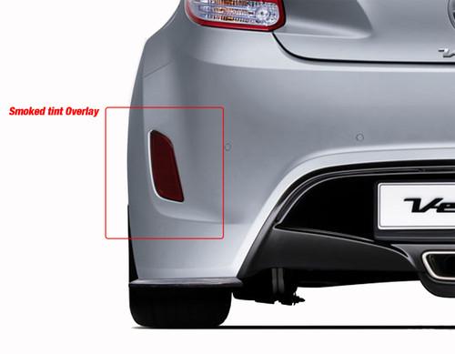 Rear Bumper Reflector Overlay - Smoke Tint | 2011-2017 Hyundai Veloster Non Turbo