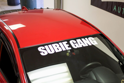 """32"""" Subie Gang """"BOLD"""" Windshield  Decal ( White )"""