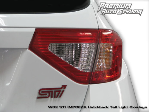 2008-2014 Subaru WRX & STI Hatchback Red Tail Light Tint Overlays w/ Reverse & Blinker Cut Outs