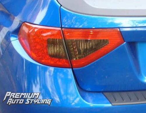 2008-2014 Subaru WRX & STI Hatchback Red Tail Light Tint Overlays w/ Reverse & Blinker Cut Outs + Smoke Inserts
