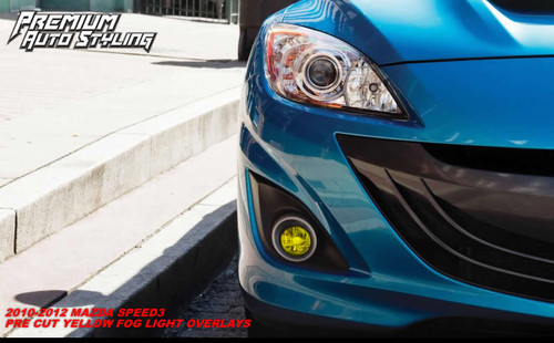 Pre-Cut Fog Light Tint Overlays - Smoke Tint / Rally Yellow Tint | 2010-2013 Mazda Speed 3 Hatchback