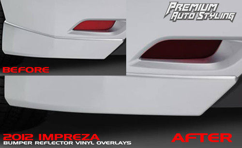 2012 Impreza rear bumper reflector smoked vinyl overlays