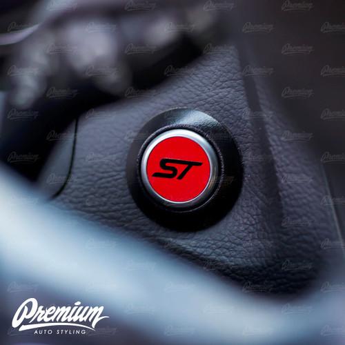 ST Start Button Overlay (Gloss Red/Gloss Black ST)   2013-2019 Ford Focus ST