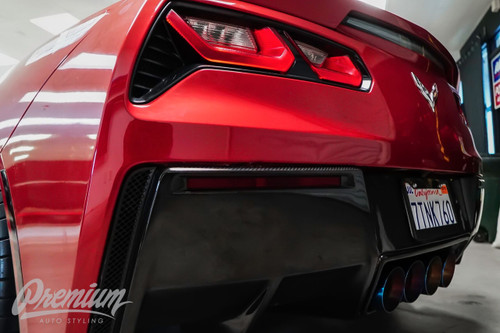 Rear Bumper Reflector Smoke Tint / Gloss Black Vinyl Overlays | 2014-2018 Chevrolet Corvette C7