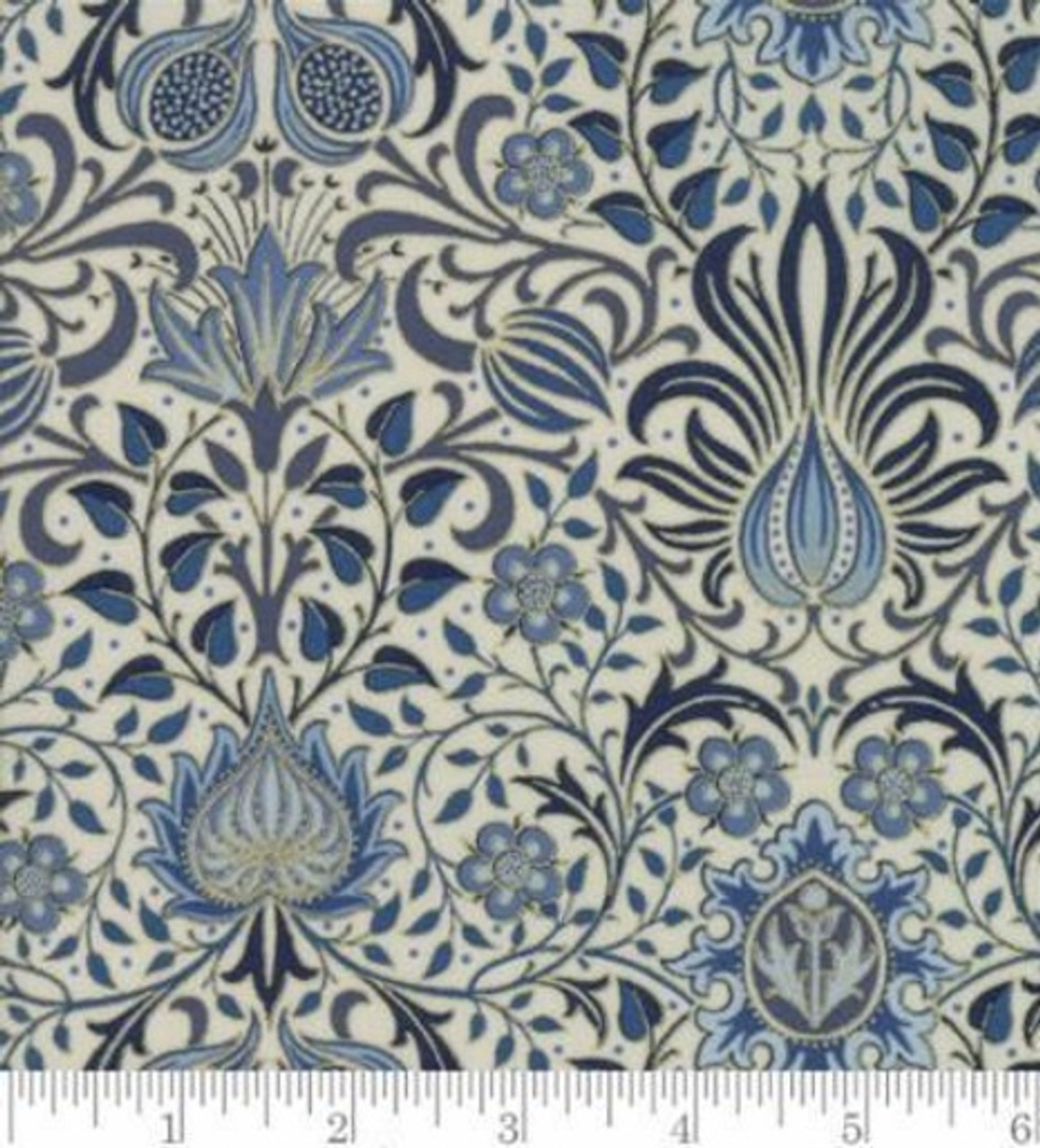 Abstract Blues And Metallic Floral Pattern On White Fabric 7311