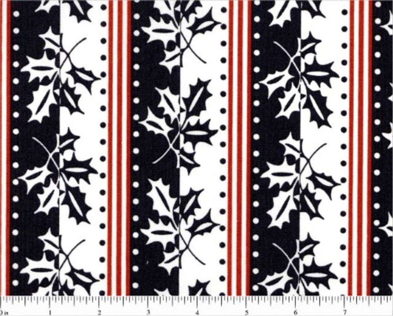 Black White And Red Border Stripe Fabric A 8746 C Winter Berries By Andover Fabrics