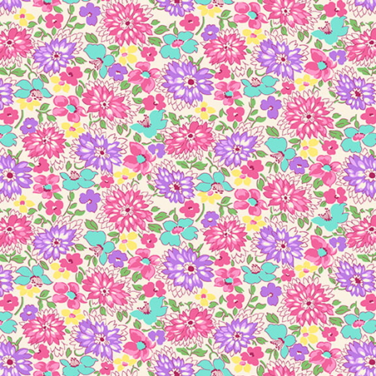 30s Floral Prints in Pink Yellow and Green Fat Quarter Bundle Nana Mae II for Henry Glass