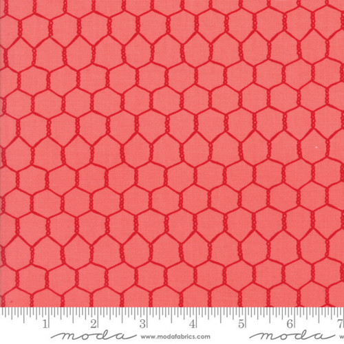 """STRAWBERRY"" STRAWBERRY RED ON LIGHTER RED CHICKEN WIRE FABRIC"