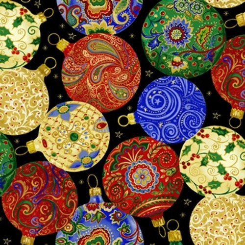 ASSORTED CHRISTMAS ORNAMENTS ON BLACK FABRIC