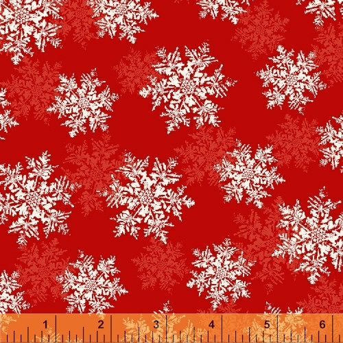 ASSORTED WHITE AND LIGHT RED SNOWFLAKES ON RED FABRIC