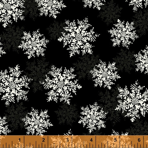 ASSORTED WHITE AND GRAY SNOWFLAKES ON BLACK FABRIC