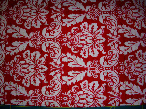 WHITE DESIGN ON FRENCH INSCRIBED RED FABRIC