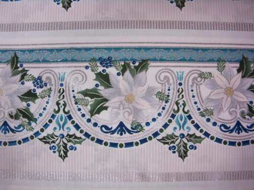 BLUE FLORAL BORDER STRIPE FABRIC