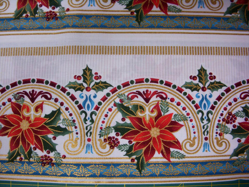 RED FLORAL BORDER STRIPE FABRIC