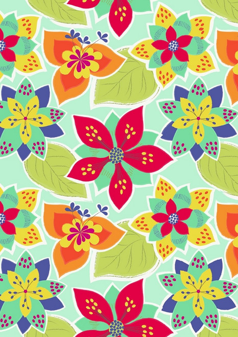 BRIGHTLY COLORED FLOWERS ON LIGHT AQUA FABRIC