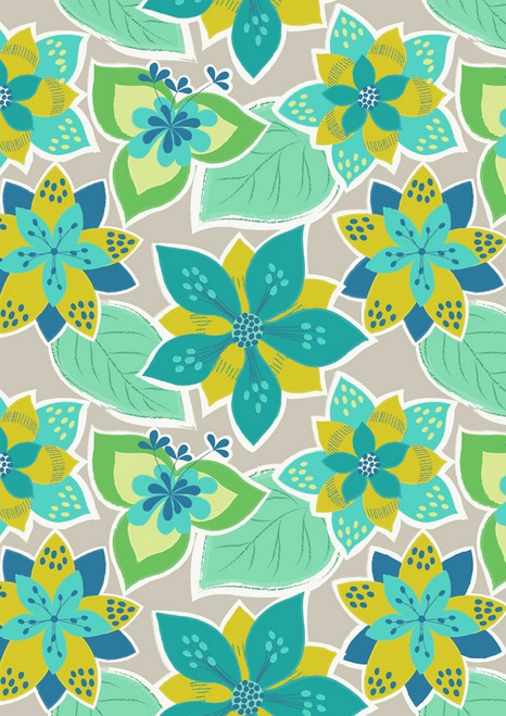 BLUE, YELLOW AND GREEN FLOWERS ON GRAY FABRIC
